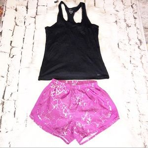 Nike tank top and running shorts.